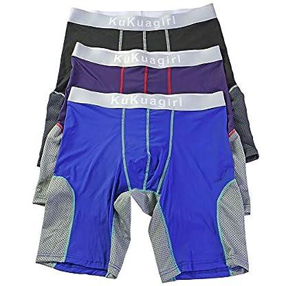 Bmeigo Calzoncillos Boxer Hombre Clásico Sport Pantalones Cortos Pierna Larga Respirable Elástico Shorts Briefs Trunks Pack de 3