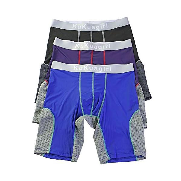 51Sbsd8ep8L. SS600  - Bmeigo Calzoncillos Boxer Hombre Clásico Sport Pantalones Cortos Pierna Larga Respirable Elástico Shorts Briefs Trunks Pack de 3