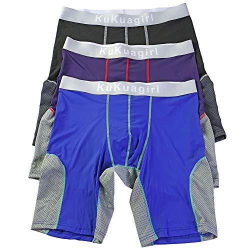 Bmeigo Sportshorts Herren Klassisch Boxershorts Lange Bein Unterwäsche Unterhosen Atmungsaktiv Strecken Shorts 3er Pack -
