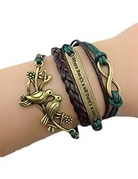 """ASHIA retro vintage Damen Leder Bronze Zwei Vögel Beads """"Love"""" Armband Lederarmband Bracelet mit Charm Anhänger und Geschenk Tüte(4 farben)"""