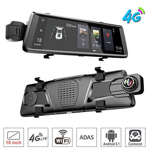 SZKJ E05 Auto-Rückspiegel, 25,4 cm (10 Zoll), Full Screen, 4G Touch-IPS, universal, gebündelt, mit ADAS-Fernüberwachung, GPS, Navi, Bluetooth, WiFi, Android 5.1, Dual-Linse, FHD 1080P