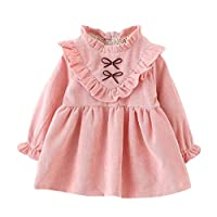 SHOBDW Girls Dresses, Toddler Kids Baby Girls Autumn Long Sleeve Party Princess Sweet Dress Outfits Clothes