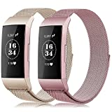 Gogoings Para Fitbit Charge 3 Correa - Pulsera de Reemplazo Ajustable Acero Inoxidable Banda Compatible con Fitbit Charge3 para Mujeres y Hombres (Sin Reloj) (Oro Rosa + Champagne, L)