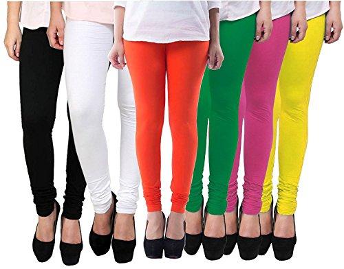 "FABLABâ""¢ Women\'s Cotton Lycra Leggings Free Size Combo (Pack of 6)_Black-White-Yellow-green-Orange-Pink-(six-colour)"