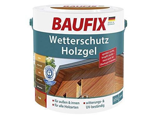 Baufix Wetterschutz Holzgel 2,5L für innen & außen Holzschutz (Teak)