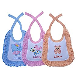 Littly Premium Baby Bibs with Frill, Pack of 3 (Blue, Peach, Pink)