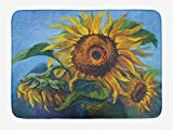 MSGDF Sunflower Bath Mat, Surreal Style Flowers Essence Harvest Season Blossom Classic Art Retro Print, Plush Bathroom Decor Mat with Non Slip Backing, 23.6 W X 15.7 W Inches, Multicolor