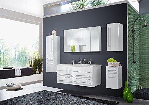 #SAM® 5tlg. Design Badmöbel-Set Dublin 120 cm weiß, Softclose-Funktion, 1 Doppel-Waschplatz mit Mineralgussbecken, 1 Spiegelschrank, 1 Hochschrank, 1 Hängeschrank, 1 Unterschrank#