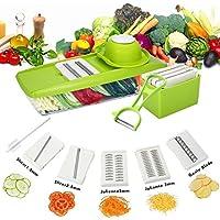 Professional Kitchen Mandolin-Kealive Tagliare frutta e verdura in modo rapido e uniforme - Viene fornito con 5 diverse lame in acciaio inossidabile di alta qualità, spintore di sicurezza e contenitore trasparente, Garanzia gratuita