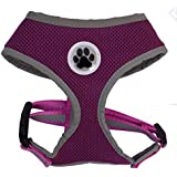 Purple Reflective Mesh Soft Dog Harness Safe Harness No Pull Pet Harnesses for Small Dogs, Medium Size