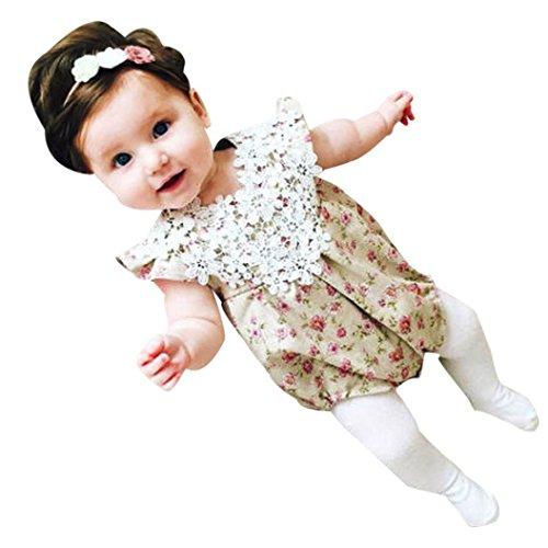 Süßes Baby Prinzessin Mädchen Säugling Blumen Spitze Ärmellose Kleidung Jumpsuit Overall Strampelhöschen Romper Strampler Babyausstattung (70, Mehrfarbig) (Spam-halloween-kostüm)
