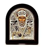 Jerusalem Heiliger Nikolaus Byzantinische Ikone Sterling-Silber 925 behandelt Größe 9 x 7 cm
