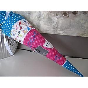 #174 Elefant Katze Vögelchen Schultüte Stoff + Papprohling + als Kissen verwendbar
