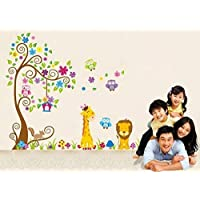Jessie&letty Removable Animal Jungle Zoo Giraffe Monkey Tree DIY Removable Wall Decal for Living Room Nursery Baby Children