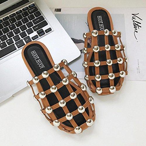 DM&Y 2017 la met¨¤ di intestazione trascinare pigri scarpe sandali piatti personalizzati Europa estate stazione moda rivetto light brown