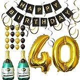 BELLE VOUS Lot de Décorations d'Anniversaire 40 Ans avec Ballons et Bannière Happy Birthday Bouteilles de Champagne Gonflables, Chiffre 40 Doré de 101,6cm et Ballons - Kit Déco Murale pour Les Fêtes