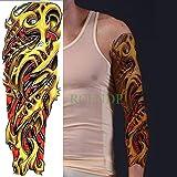 Handaxian 3pcs-Tatuaggio Adesivo Impermeabile Braccio Completo Polpo Pistola Diavolo Maledizione Tatuaggio Tatuaggio Uomo 3pcs-11