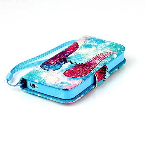 KATUMO® Handyhülle für iPhone 4, [Flip Book Case] PU Leder Wallet Case Handytasche Schutzhülle für Apple iPhone 4/4S Lederhülle Etui Schale mit Standfunktion Function,Fantasie Campanula Engel