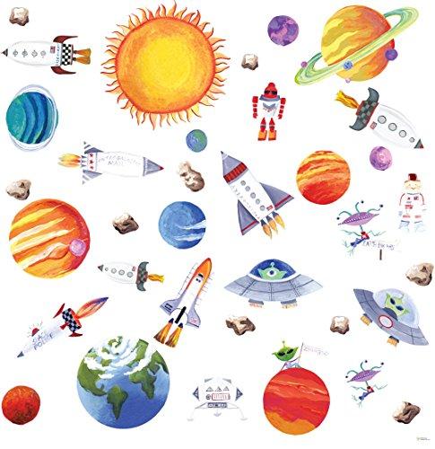 RoomMates - Wandsticker Kunterbuntes Weltall 35 Stück (Lichterketten Planeten)