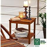 SAM® Table de jardin en bois d'acacia, certifié FSC® 100 %, table d'appoint en bois massif, couleur brun, 45 x 45 cm, pour jardin, balcon, terrasse, bois dur