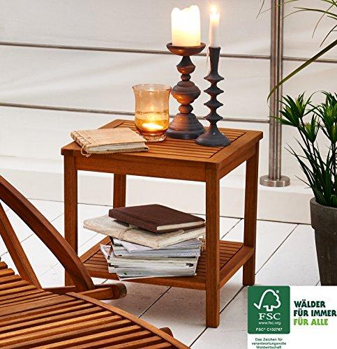 SAM® Garten-Tisch aus Akazien-Holz, FSC® 100 % zertifiziert, Beistelltisch aus Massiv-Holz, Farbe braun, 45 x 45 cm, Beistelltisch für Garten, Balkon, Terrasse, Hartholz-Tisch