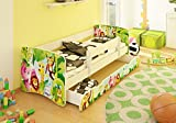 BEST FOR KIDS Kinderbett 90x160 mit Rausfallschutz + Schublade 44 Designs (Animals)