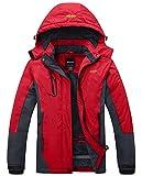 Wantdo Femme Anorak Veste de Ski avec Polaire Coupe-Pluie Coupe-Vent Imperméable Hiver Rouge Small