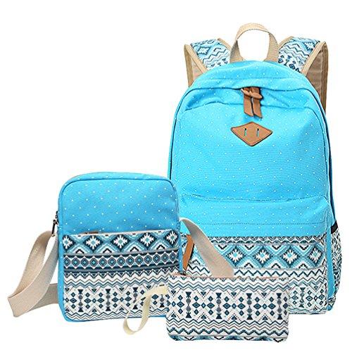 Imagen de mingtai backpack  escolares mujer  escolar lona bolsa casual para chicas bolsa de hombro mensajero billetera cielo azul