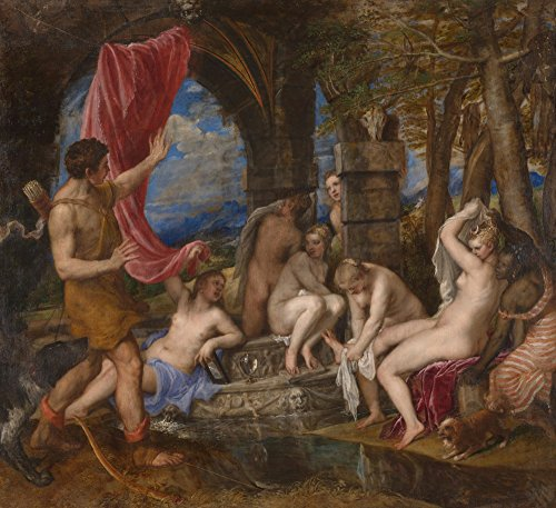 Das Museum Outlet–Tizian–Diana und Aktaion, gespannte Leinwand Galerie verpackt. 40,6x 50,8cm