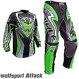 Wulf Sport WSX 4 Moto Bambini Pantaloni e Maglia Moto MX ATV Quad Motocross Bambini Tuta moto (11-13...