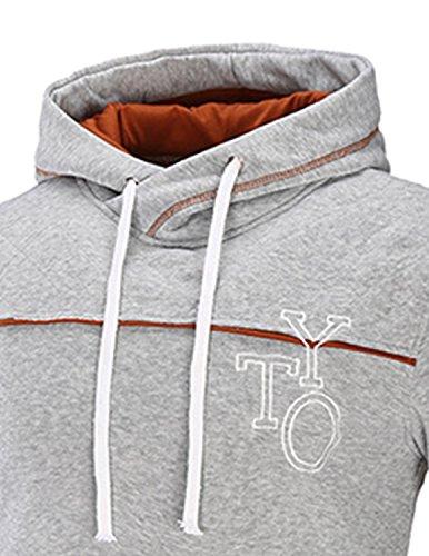 YCHENG Elegante Felpa con Cappuccio da Uomo Pullover a Contrasto con Tasca Ricamo Giacca Hip Hop Sweatshirt grigio 1