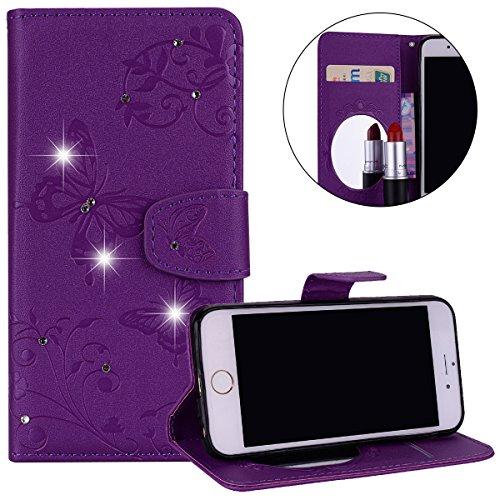 Surakey Coque Compatible avec iPhone 6S Plus/ 6 Plus,Fleur Papillon Cristal Glitter Strass PU Cuir Case à rabat Coque Portefeuille Housse Flip Wallet Case Magnétique Étui,Violet