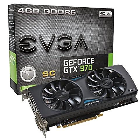 EVGA GTX970 SC 4GB D5 Carte graphique Nvidia GeForce GTX 970 1165 MHz 4096 Mo PCI-Express