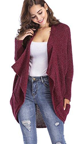 ClasiChic damen Strickjacke Irregulär Cardigan Asymmetrisch Langarm Loose Pullover mit Taschen (weinrot, m)
