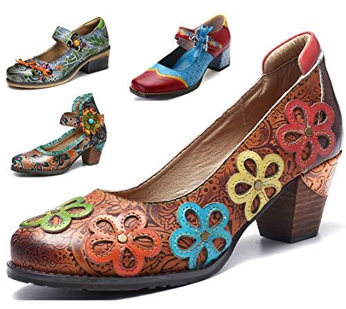Camfosy Damen Leder Pumps Absatz,Frau Bunte Mary Jane Schuhe Handgefertigt Blumen Bootsschuhe Mokassins Elegant Loafers Bequem Halbschuhe Slip-Ons Damenschuhe -