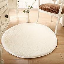 Alfombra redonda, CONMING Shaggy piso alfombra Super alfombra suave almohadillas antideslizante piso alfombra antideslizante desgaste yoga esterilla para sala de estar dormitorio y más 100 x 100 cm (blanco)