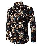 Haroty Herren Hemd Slim Fit Langarm Oversize Männer Ethno Print Bunt Shirt Langarmhemd (L, CS 12)