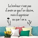 Sticker citation Le bonheur Noir - 30 x 55 cm...