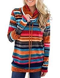 aedd54674cb07 Tomwell Sudadera de Mujer Invierno Casual Manga Larga Moda Cordón Bolsillo  Deportes Camisa de Entrenamiento Pullover