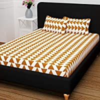 Story at Home 120 TC 100 % Cotton Flat Double Bedsheet with 2 Pillow cover, Brown, 225 cm x 235 cm