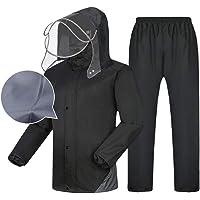 Tuta Impermeabile da Uomo Giacca e Pantaloni Impermeabili Set Abbigliamento Antipioggia con Cappuccio Lavoro all'aperto…