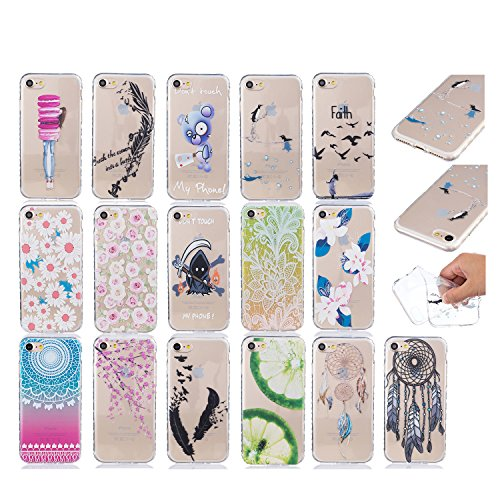 Sunroyal Hülle für iphone 7 (4.7 inches) Silicone Case Cover, Scratch-resistant Ultra Slim TPU Case Cover Soft Protective with Pattern Design Transparent Soft silicone Cover Pattern 05