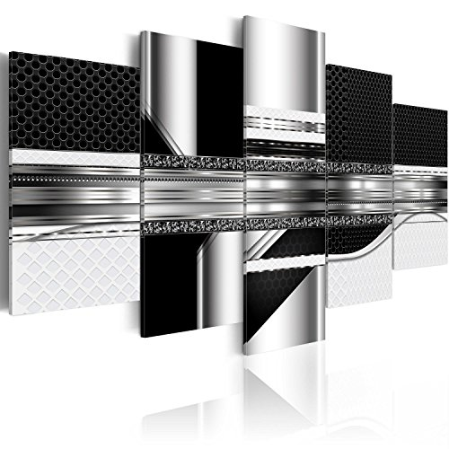 murando - Bilder 100x50 cm Vlies Leinwandbild 5 TLG Kunstdruck modern Wandbilder XXL Wanddekoration Design Wand Bild - Digital Abstrakt schwarz a-A-0184-b-n