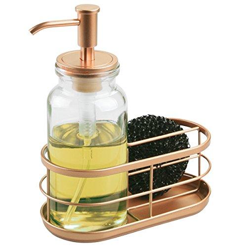 mDesign Dispensador de jabon liquido o lavavajillas con porta estropajos – Dosificador de jabon de cristal con guardaestropajos doble - Accesorio de baño o cocina – Transparente / cobre
