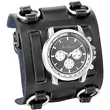 JewelryWe Reloj de pulsera negro de estilo gótico, punky o hip-hop para hombres, correa de cuero ancha de moda