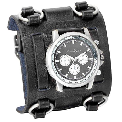 JewelryWe Herren Armbanduhr, Analog Quarz, 30M Wasserdicht Elegant Casual Sport Uhr mit Schwarz Breit Leder Armband, Schwarz Rund Zifferblatt und Silber Gehäuse