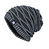 Men Women Knitted Hat, Indexp Unisex Five-Pointed Star Plush Lining Winter Warm Thick Hiking Outdoor Hunting Ski Crochet Skullies Beanie Pile Cap (Grey /Velvet Lining)