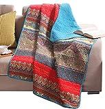 Exclusivo Mezcla Reversible 125 x 150 cm Baumwolle Modischer Bohemian-Stil Steppdecke Kuscheldecke Sofaüberwurf Tagesdecke Wohndecke Sofa Bett Decke (Typ 5)