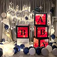 29 pcs party Decorations propose marriage box Fairy Lights for Wedding/Birthday party/Travel Themed Party/Bridal Shower Christmas Decoration with 8 balloon 4 letter 4 Fairy Lights 4 box (baby/black)