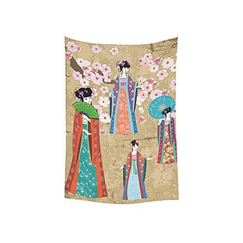 Asiatische Art Wand Home Decor, Mädchen in Retro Kostüm Wandteppich für Art Sets 152,4x 203,2cm, Baumwoll-Leinen, multi 1, 40 X 60 inch